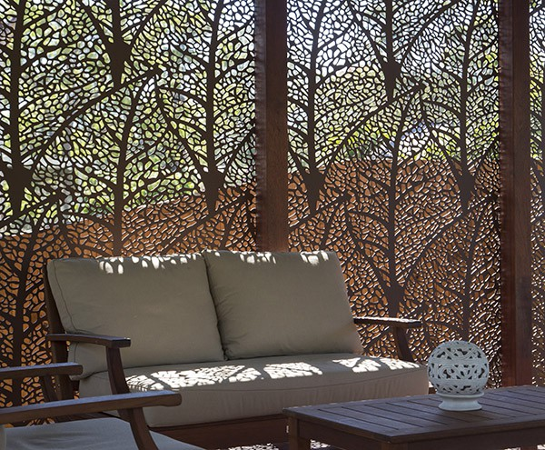 Laser cut Autumn Leaf Design screens for patio