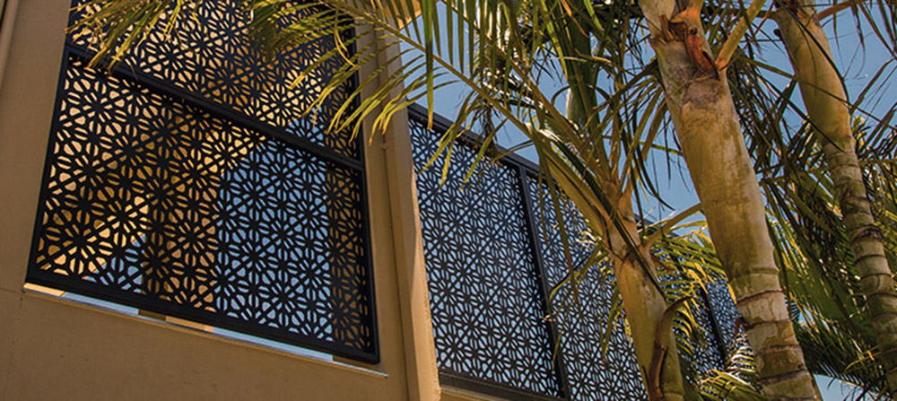 laser cut screen black powder coat in Geo Criss Cross Design