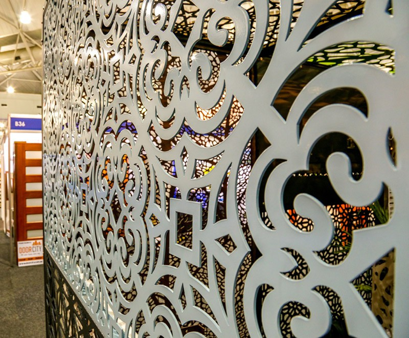 laser cut aluminium screens in Floral Geo Design
