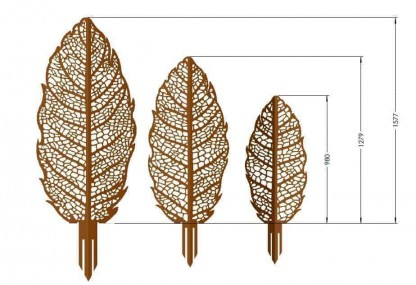 Decorative Garden Art Apple Leaf Sizes
